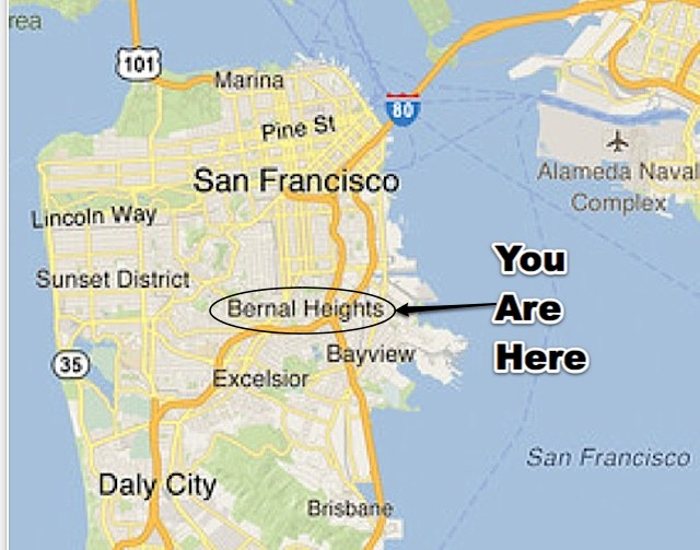 Bernal Heights Gets High-Profile Cameos in New Google Maps ... on google map santa barbara county, google map laramie, google map madera, google map davis, google map staten island, google map willows, google map cleveland, google map green bay, google map embarcadero, google map newport beach, google map el paso, google map carlsbad, google map los gatos, google map bethesda, google map cincinnati, google map varadero, google map el monte, google map las gaviotas, google map grand teton, google map harrisburg,