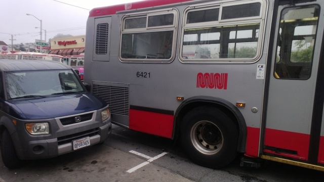 "Muni backs up into my neighbor's car in slow mo as he yells, ""stop, hey! What the hell are you doing!""  @bernalwood"