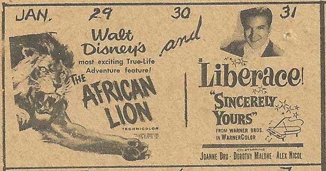 Cortland-lion-Liberace-1956-Bwood
