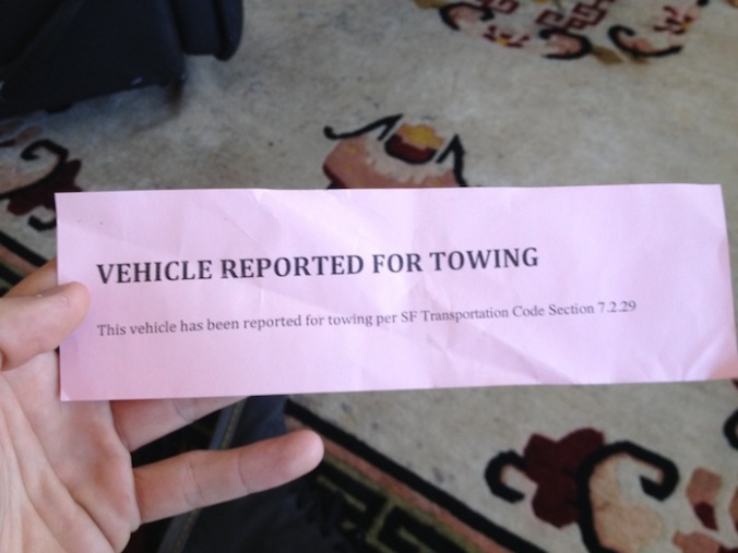 reported for towing