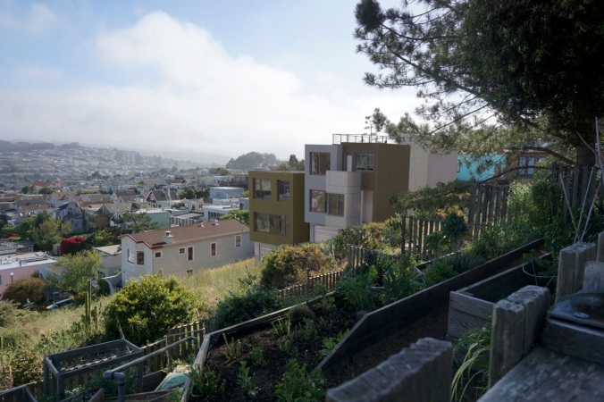 Rendering of proposed homes, view southwest from public garden below Bernal Heights Blvd.