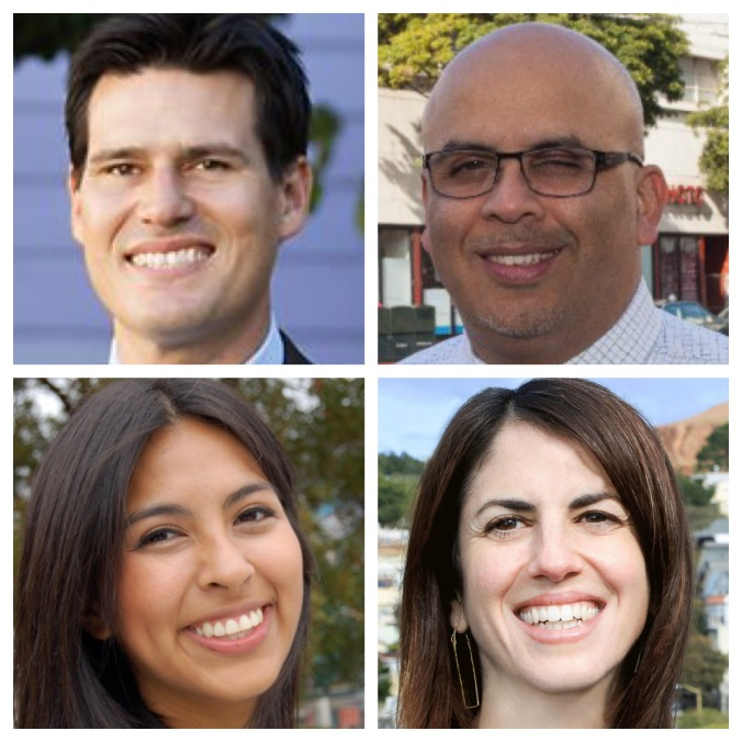 The D9 Candidates: Clockwise from top left: Joshua Arce, Iswari Espana, Hillary Ronen, and Melissa San Miguel