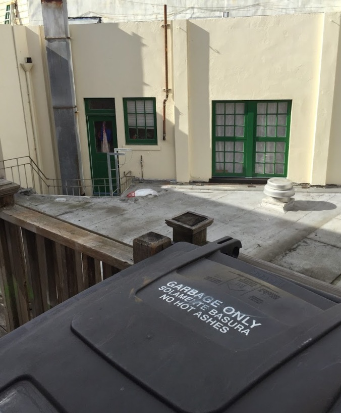 2015 photo of trash bin on the rear deck of 3316 Mission, courtesy of Michael Nolan