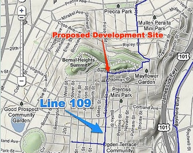 Current route of PG&E's Pipeline 109 through Bernal Heights